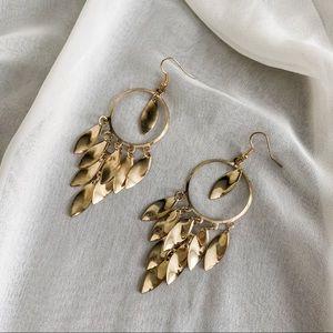VTG Gold Circle Almond Cluster Chandelier Earrings